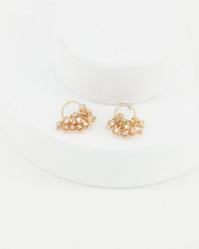 Ring Cluster Bead Drop Earrings -  lightpink