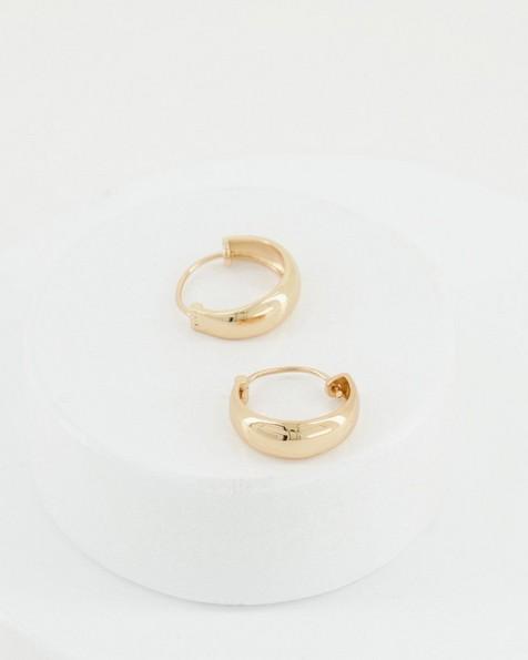 Basic Wide Bottom Hoop Earrings -  gold