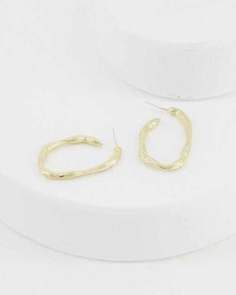 Irregular Oval Hoop Earrings -  gold