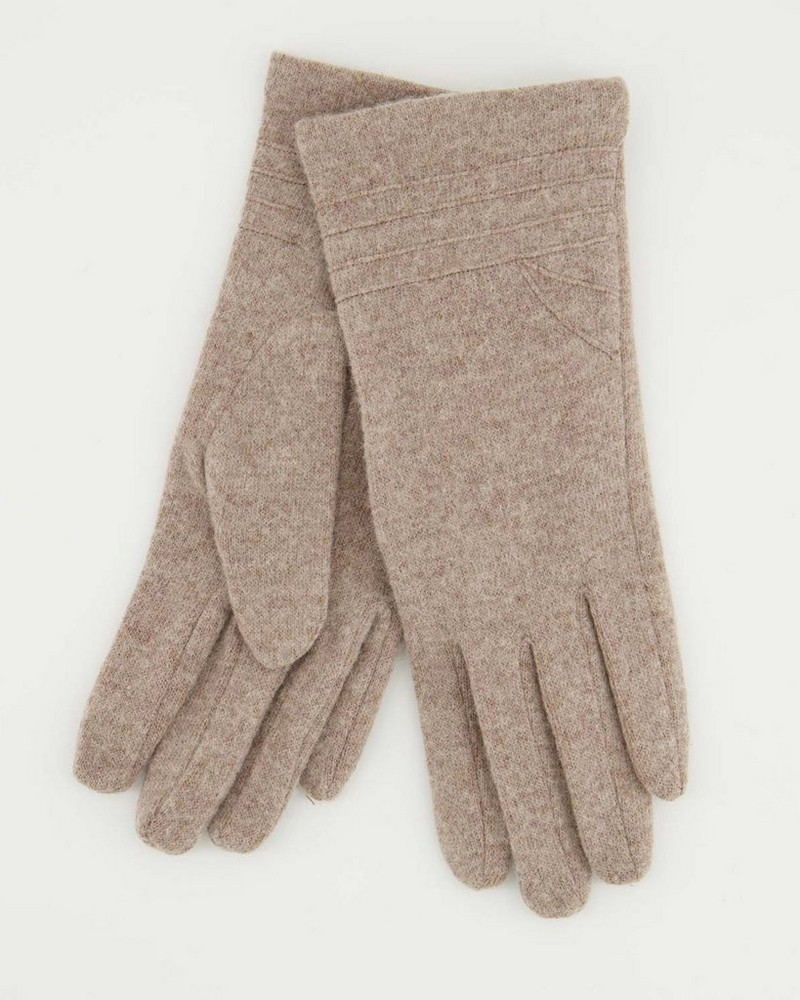 Anna May Wool Gloves -  stone