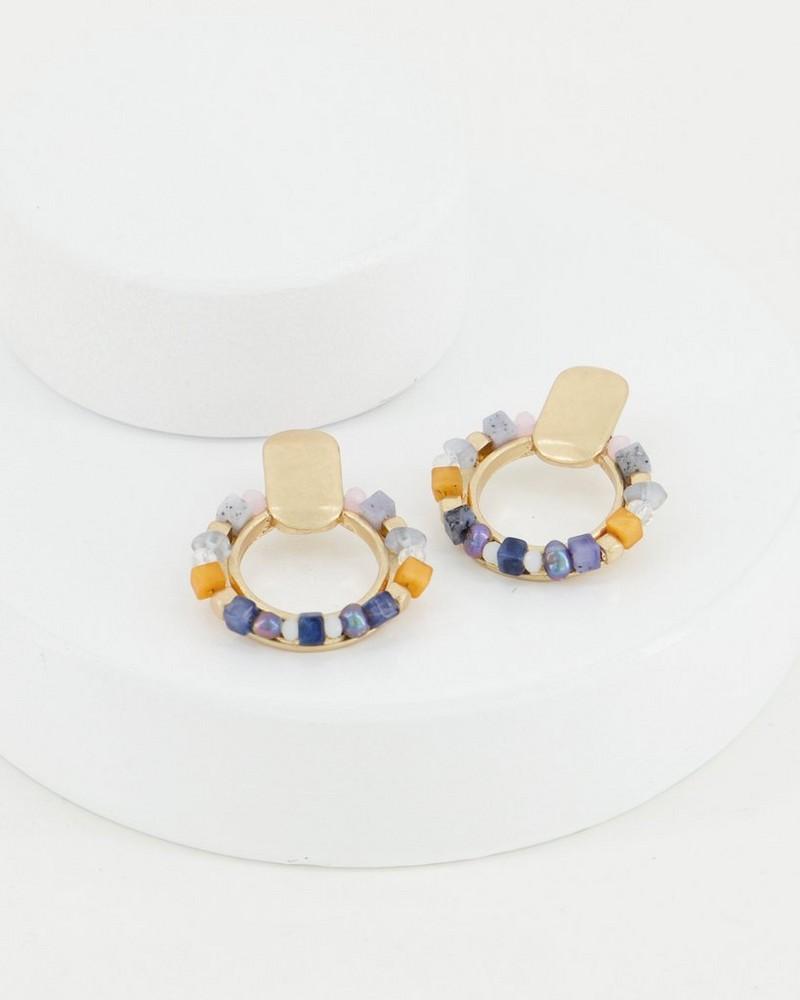 Beaded Stone Earrings -  assorted