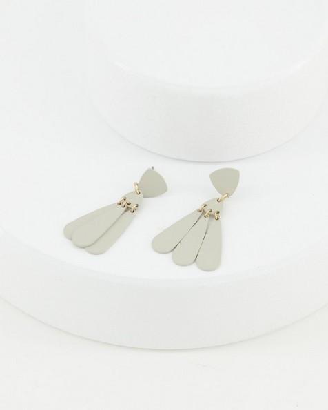 Metal Disk Fan Drop Earrings -  bone