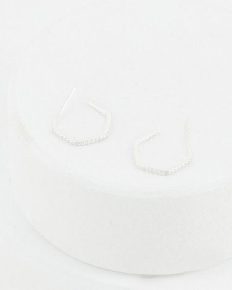 Modern Cubic Zirconia Hoop Earrings -  silver