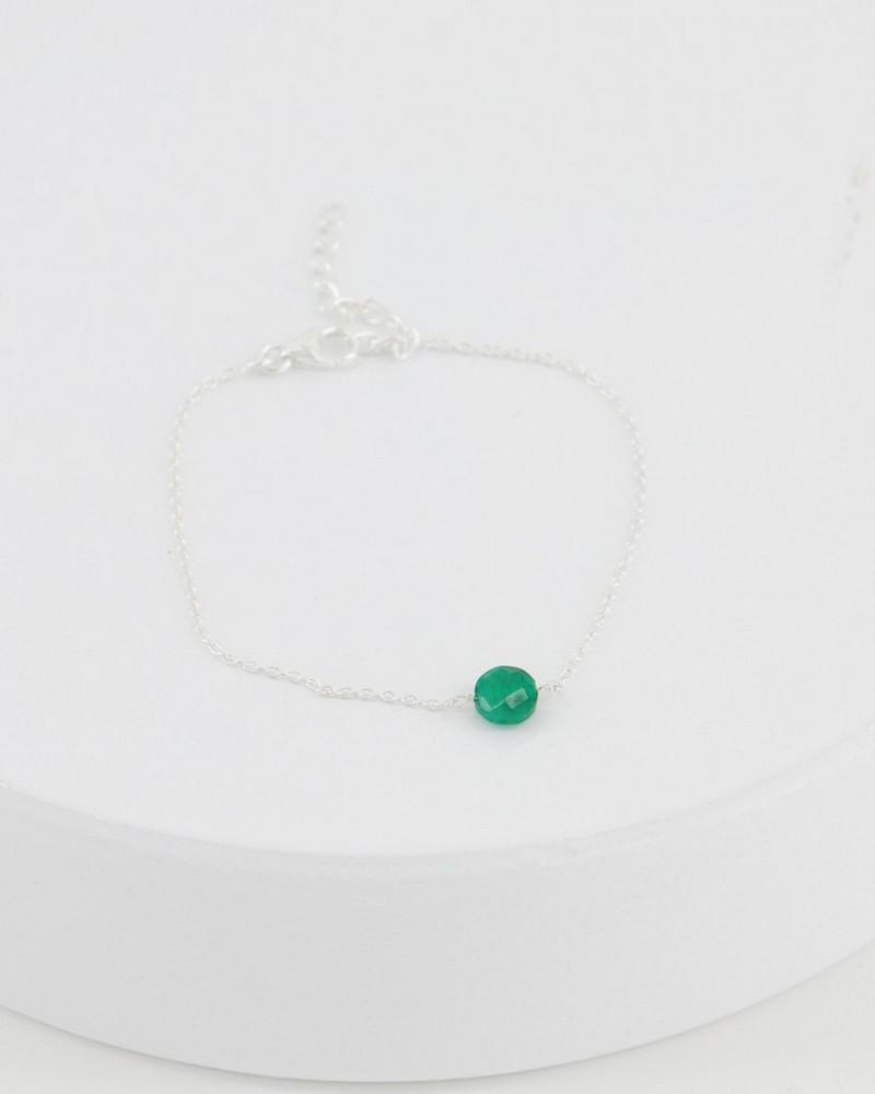 Emerald Stone & Silver Bracelet -  emerald