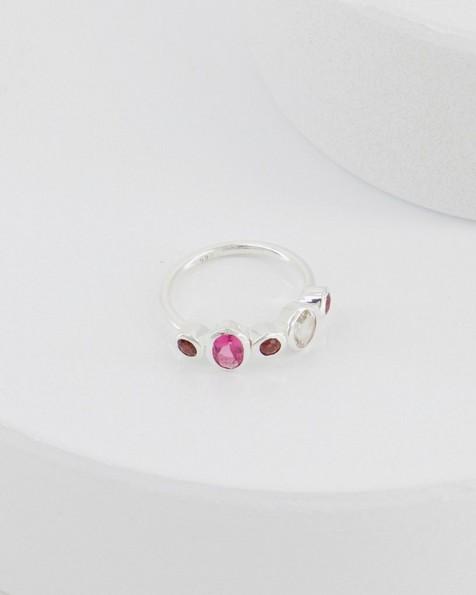 Garnet and Pink Quartz Ring -  pink