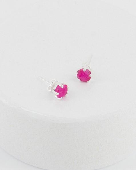 Ruby Domed Silver Stud Earrings -  red