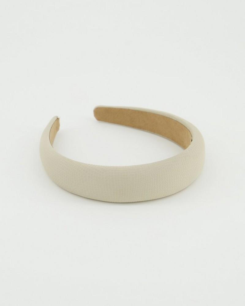 Benina Textured PU Alice Band -  bone