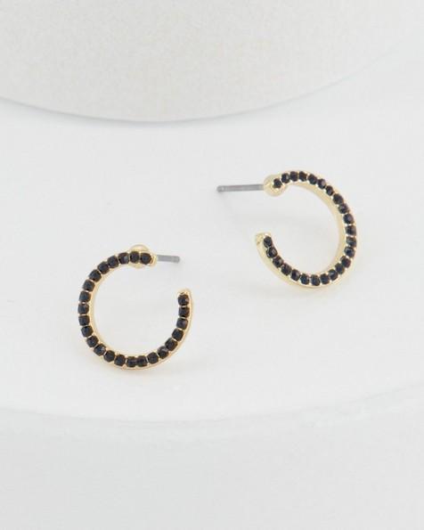 Horseshoe Studded Earrings -  navy