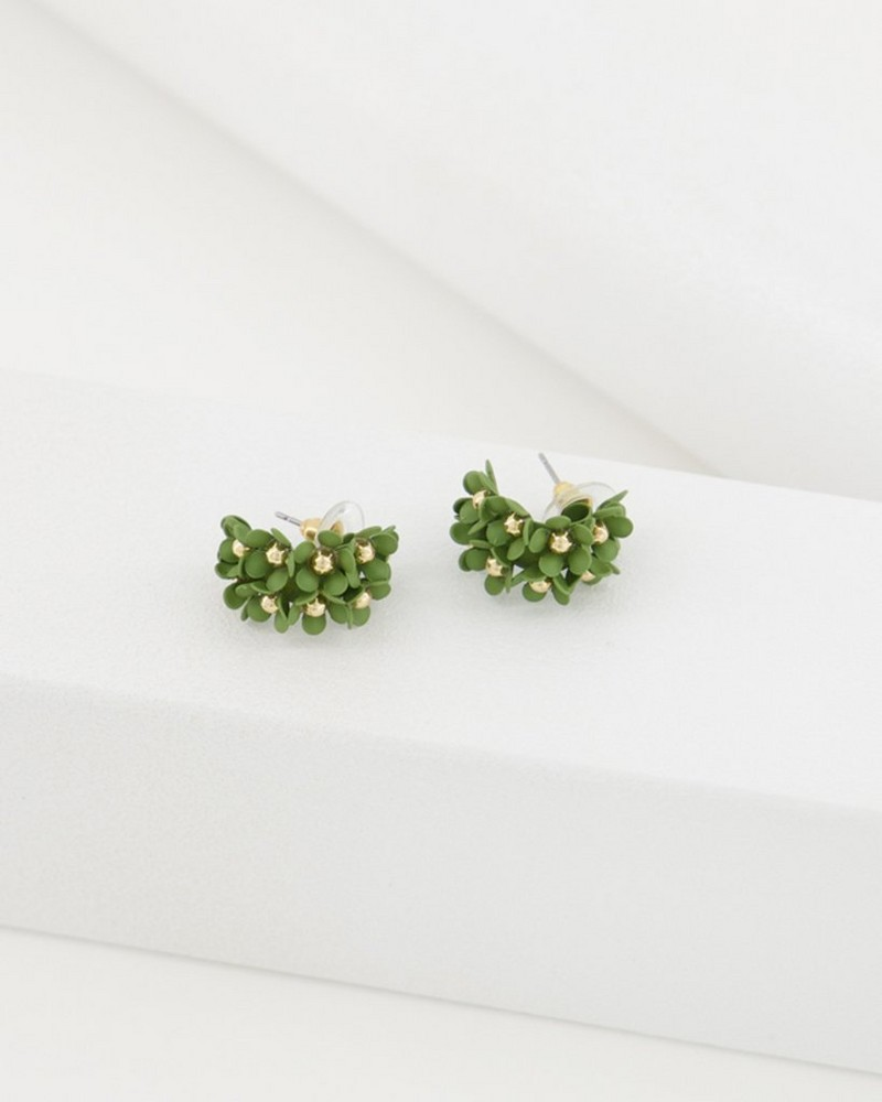 Clustered Floral Hoop Earrings -  olive