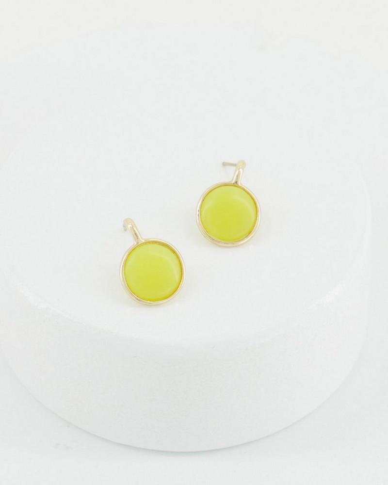 Lemon Jade Stone Circle Earrings -  yellow