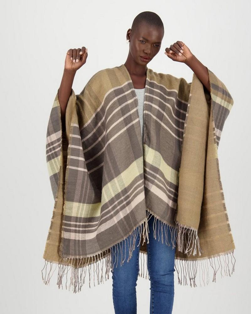 Clio Check Shawl -  camel