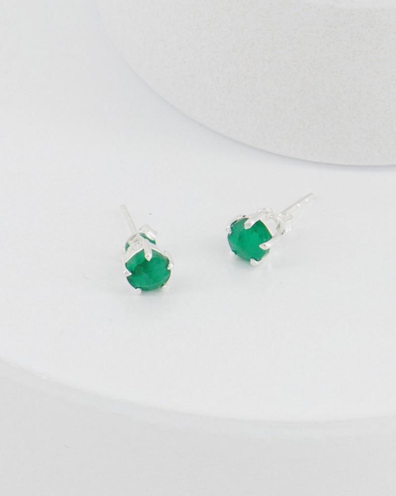 Emerald Domed Silver Stud Earrings -  green