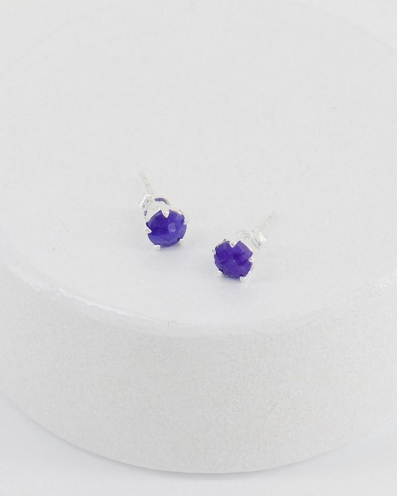 Sapphire Domed Silver Stud Earrings -  blue