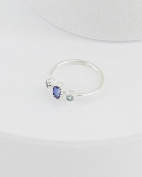 Blue Topaz Trio Silver Ring -  blue
