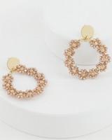 Beaded Hoop Drop Earrings -  lightpink