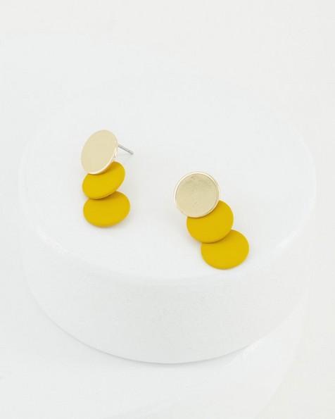 Rubberized Circle Tier Drop Earrings -  yellow