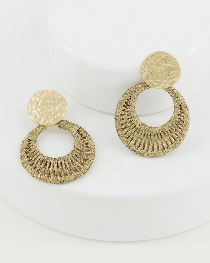 Metallic Thread Disk Earrings -  yellow