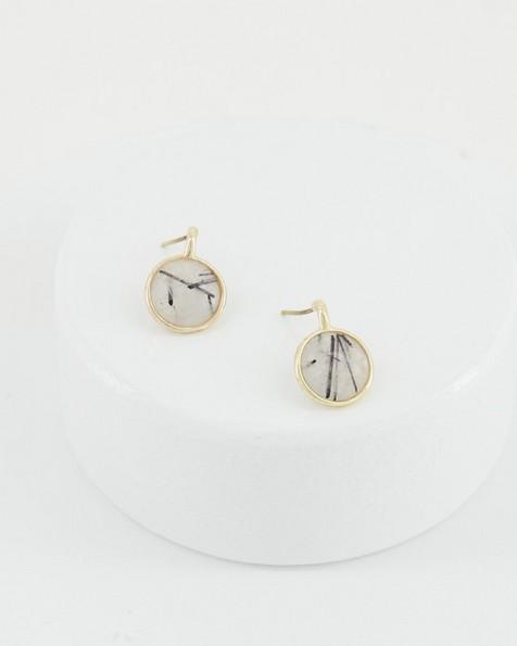 Natural Stone Circle Earrings -  milk