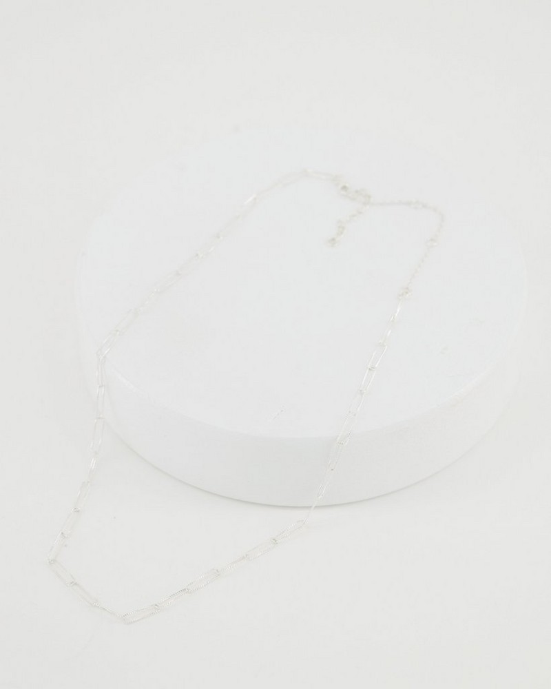 Chain Link Silver Necklace -  silver