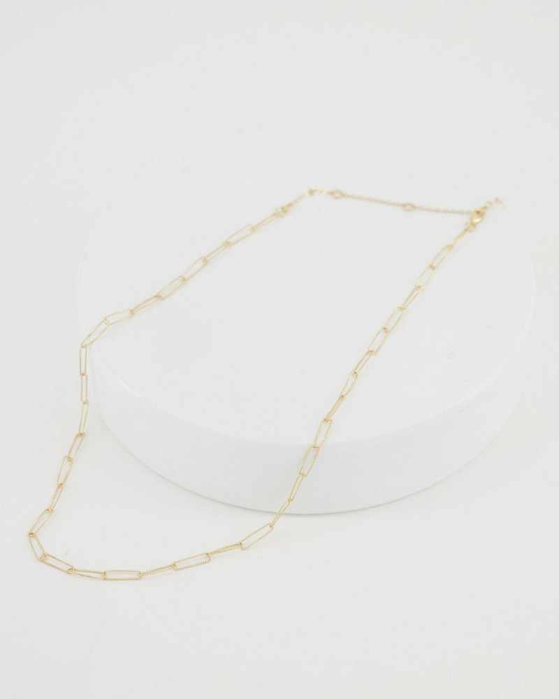 Chain Link Silver Necklace -  gold