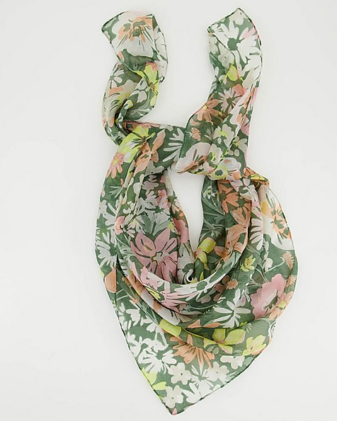 Gillian Oversized Floral Silk Scarf -  green