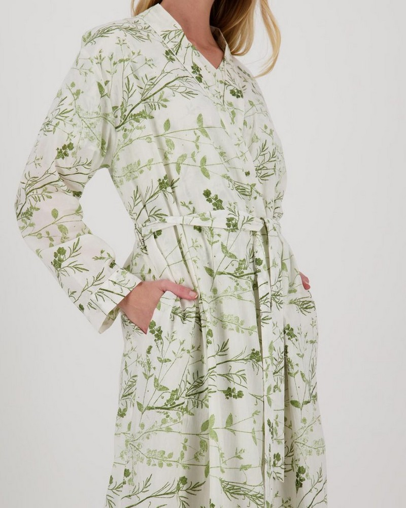 Organic Floral Gown -  green