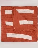 Weaver Block Print Quilt -  rust