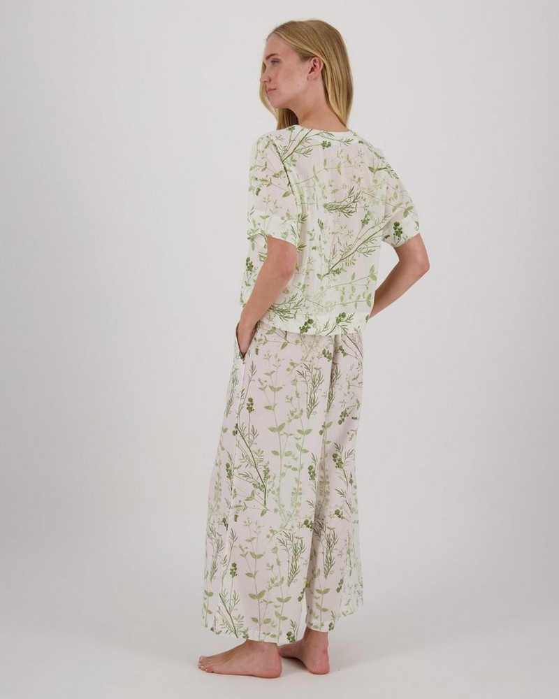 Organic Floral PJ Set -  green