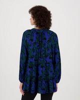 Greta Printed Blouse -  cobalt