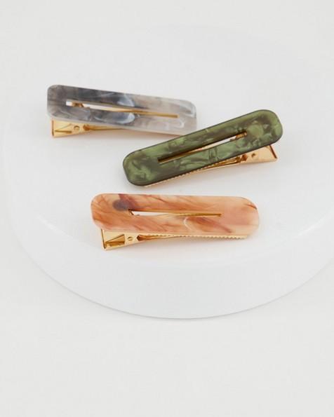 3-Pack Winona Hair Slides -  green
