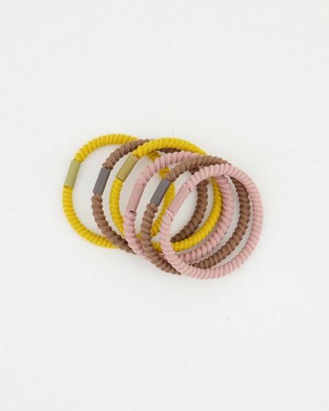 6-Pack Ribia Textured Hair Ties -  pink