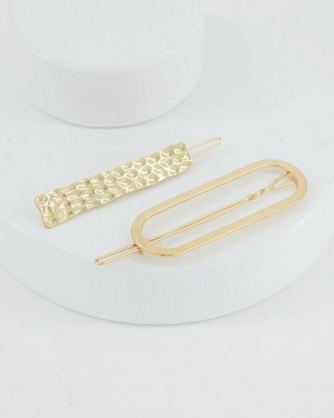 2-Pack Rochelle Metal Hair Slides -  gold