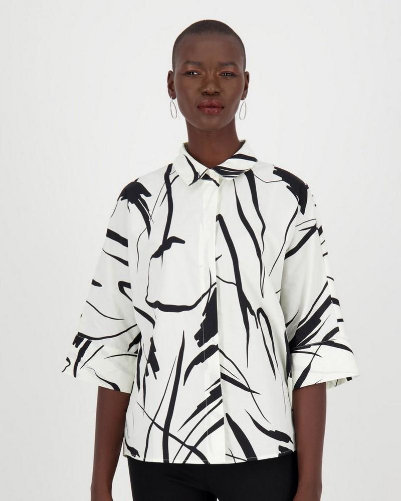 Parker Print Blouse -  bone
