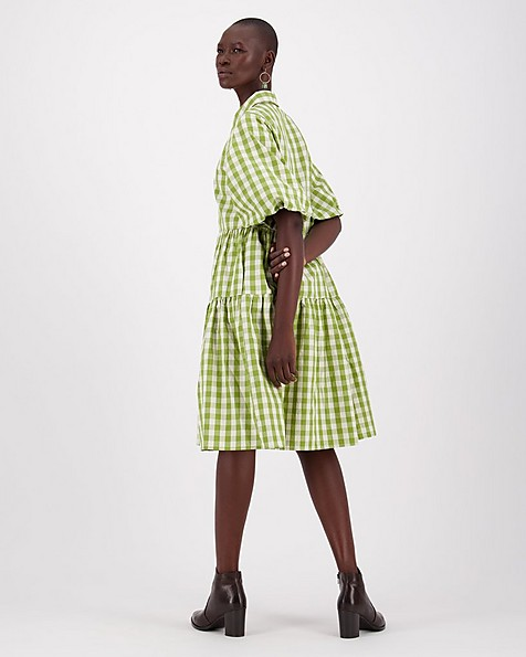 Tasha Check Dress -  green