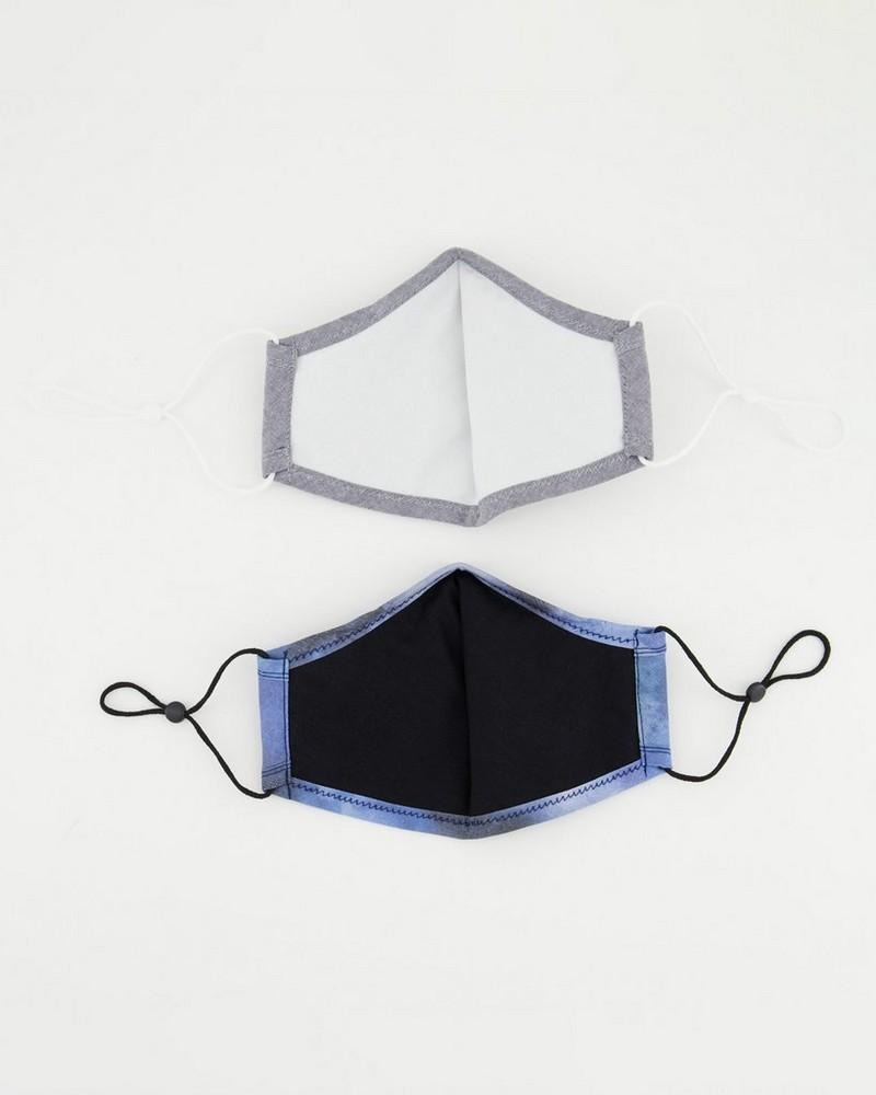 2-Pack Watercolour Fabric Face Masks -  blue