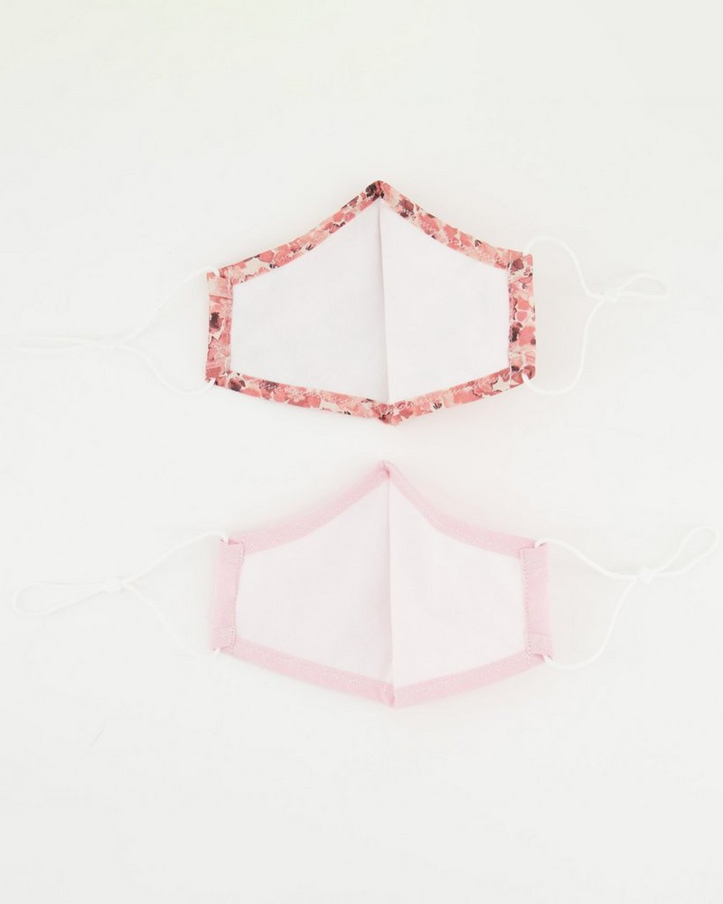 2-Pack Pressed Flower Fabric Face Masks -  pink