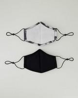 2-Pack Brushstroke Printed Fabric Face Masks -  black