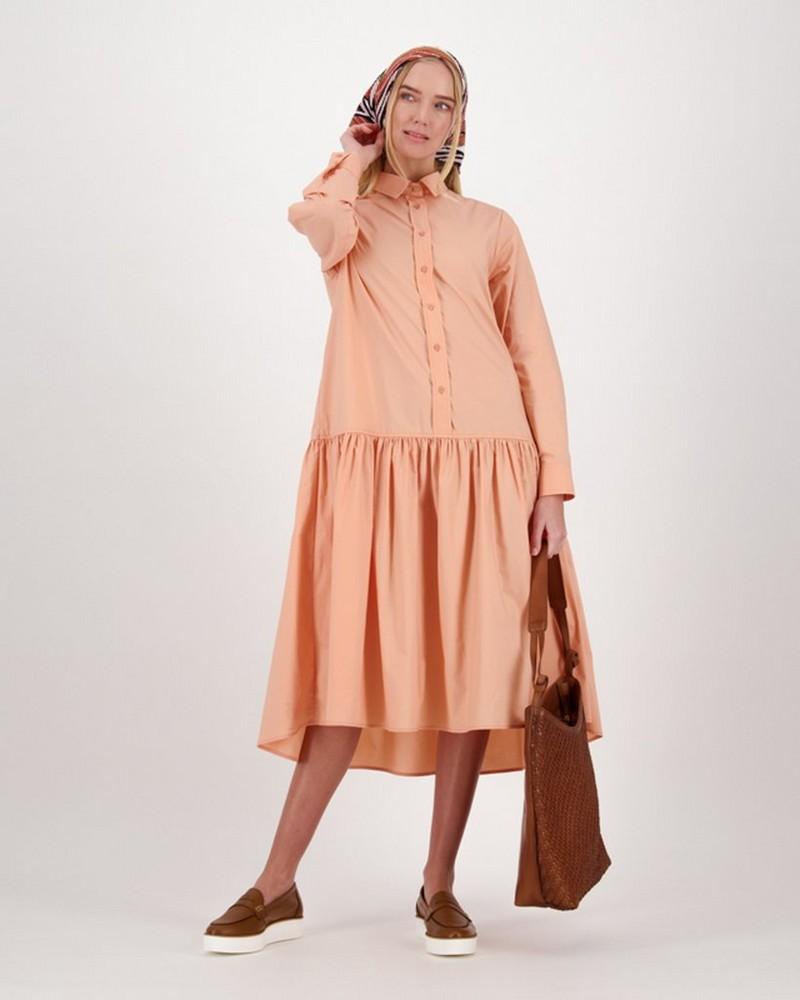 Una Poplin Shirt Dress -  coral