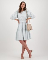 Edna Check Dress -  blue
