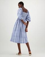 Delphy Checkered Dress -  navy