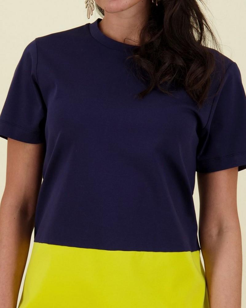Jean Colourblock Dress -  navy
