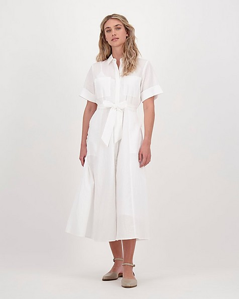 Poetry Brie Interest Dress -  white