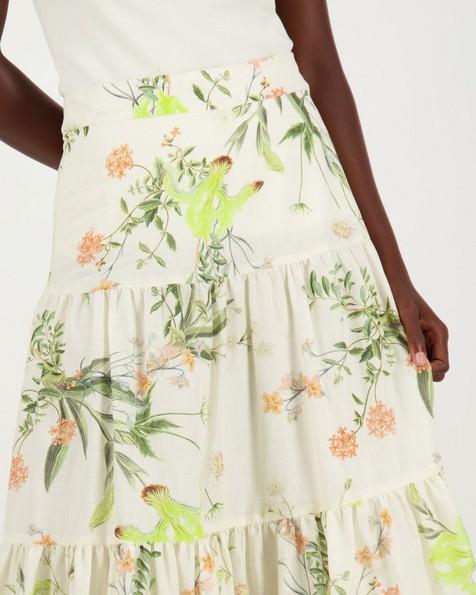 Nichelle Floral Tiered Skirt -  milk