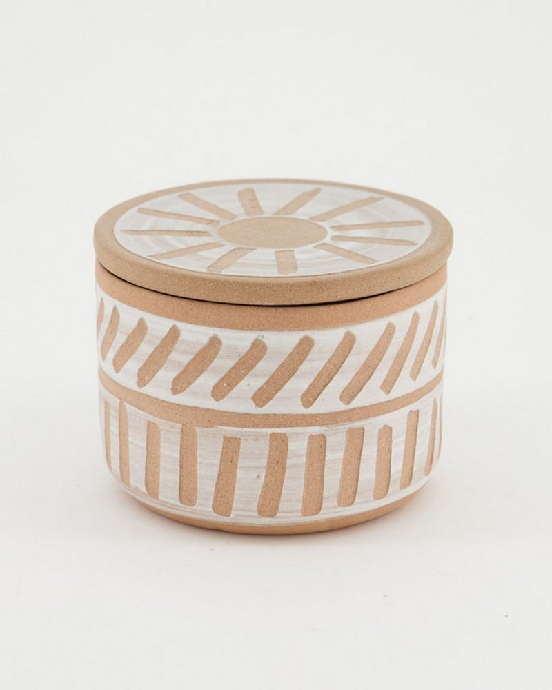 Terracotta Design Large Candle with Lid -  rust
