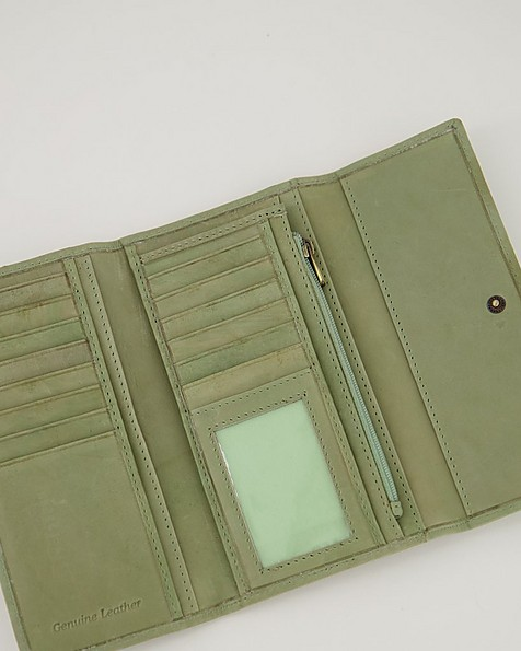Sonia Structured Leather Wallet -  green