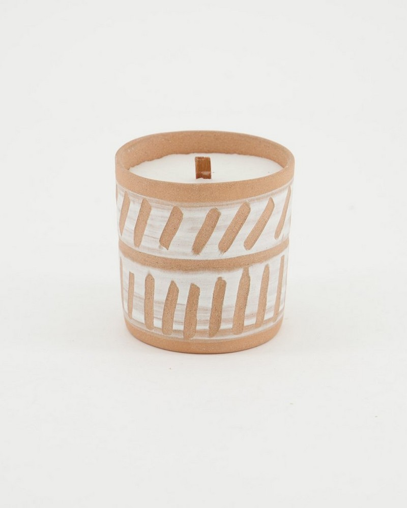 Terracotta Design Small Candle -  rust