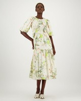 Lark Printed Dress -  white