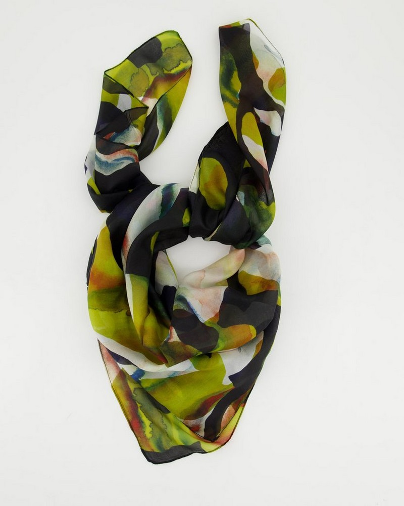Leighton Circle Abstract Silk Scarf -  assorted