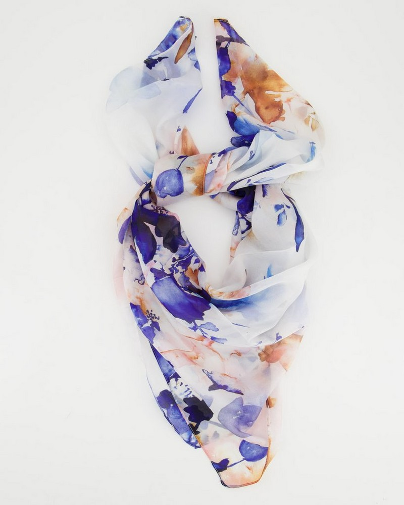 Libby Watercolour Silk Scarf -  blue