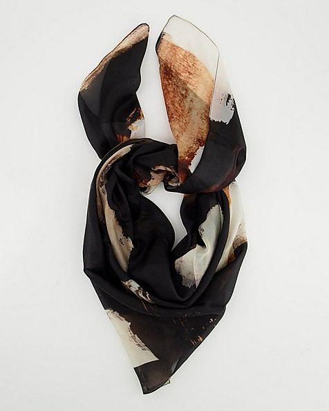 Macer Brushstroke Silk Scarf -  black